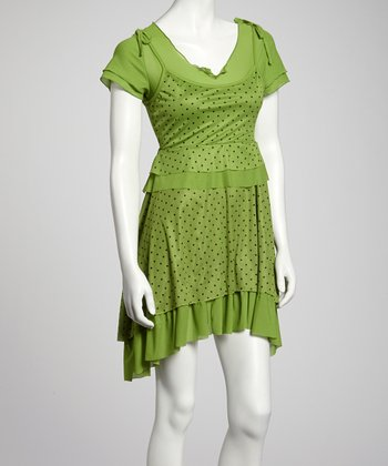 Green Polka Dot Tier Layered Dress