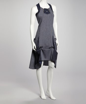 Blue Pocket Linen-Blend Shift Dress