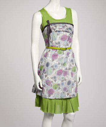 Green & Pink Floral Belted Sleeveless Dress