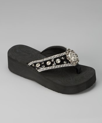 Black Scalloped Medallion Sandal