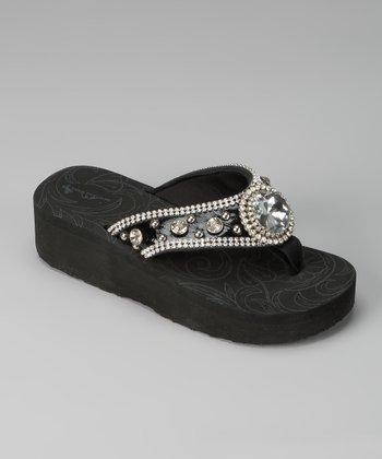 Black Round Gem Sandal