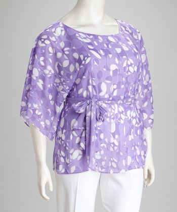 Lilac Circle Front Tie Plus-Size Top & Pants