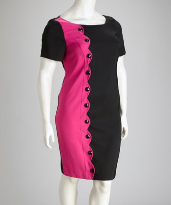 Fuchsia & Black Scallop Button Plus-Size Dress