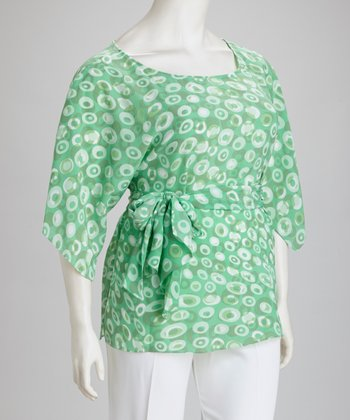 Green & White Front Tie Plus-Size Top & Pants