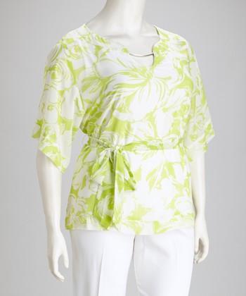 Dana Kay Lime & White Floral V-Neck Plus-Size Top & Pants