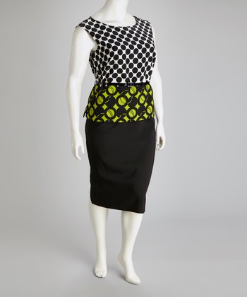 Black & Lime Circle Belted Plus-Size Top & Skirt