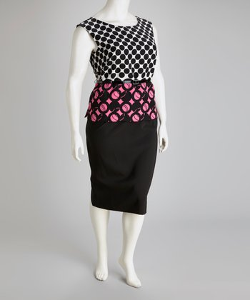Black & Pink Circle Belted Plus-Size Top & Skirt