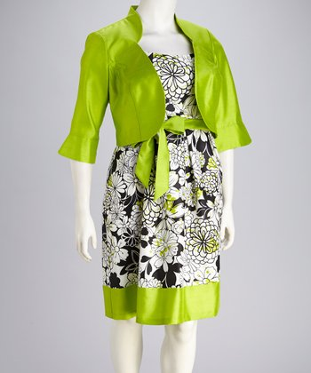 Lime & Black Floral Dress & Jacket - Plus