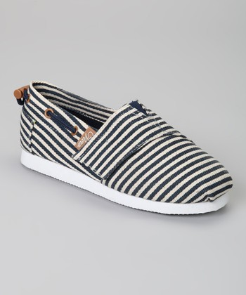 Navy & Ivory Stripe Voyage Slip-On Boat Shoe