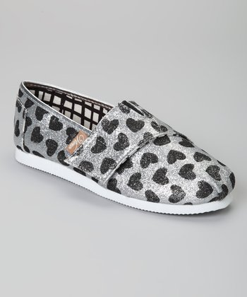 Silver & Black Hearts Voyage Glitter Slip-On Shoe