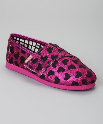 Fuchsia & Black Hearts Voyage Glitter Slip-On Shoe