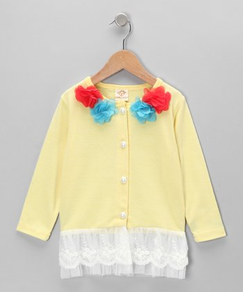 Yellow Flower Cardigan - Toddler & Girls