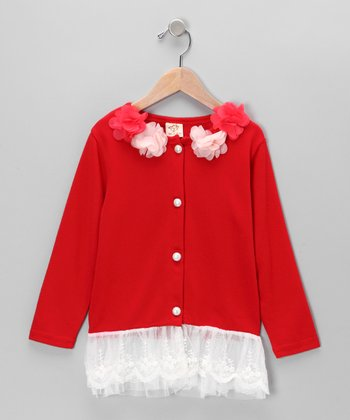 Red Flower Cardigan - Toddler & Girls