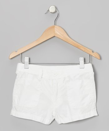 Soft White Canvas Short Shorts - Girls