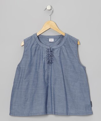 Blue & Gray Embroidered Shift Top - Girls