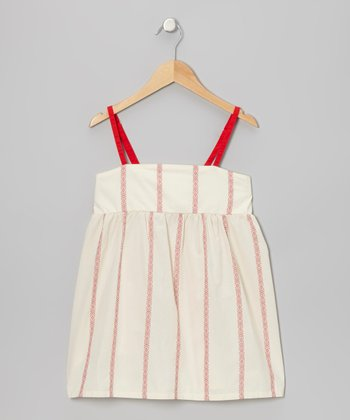 White & Red Tribal Stripe Chemise Top - Girls