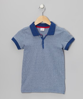 Blue Ribbed Jersey Polo - Kids