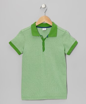Kelly Green Ribbed Jersey Polo - Kids