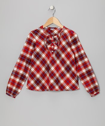 Poppy Tartan Ruffle Artist Blouse - Girls