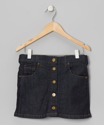 Dark Blue Denim Button-Up Skirt - Girls