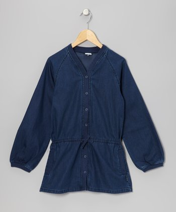 Dark Blue Denim Button-Up Tunic - Girls