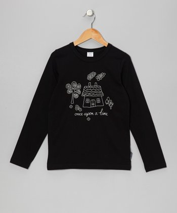 Black 'Once Upon a Time' Long-Sleeve Tee - Girls