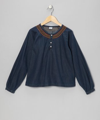 Faded Blue Embroidered Denim Prairie Blouse - Girls