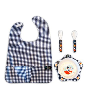Plaid Bowl & Bib Set