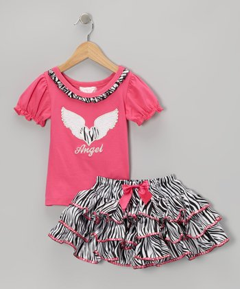Hot Pink Angel Tee & Zebra Sequin Skirt - Toddler & Girls
