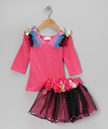 Hot Pink Tee & Glitter Sequin Skirt - Infant, Toddler & Girls
