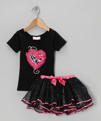 Black Heart Tee & Glitter Skirt - Infant, Toddler & Girls