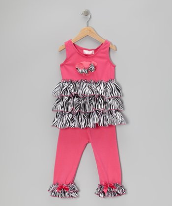 Hot Pink Zebra Tunic & Leggings - Infant, Toddler & Girls