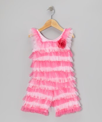 Light Pink & Hot Pink Ruffle Romper - Infant