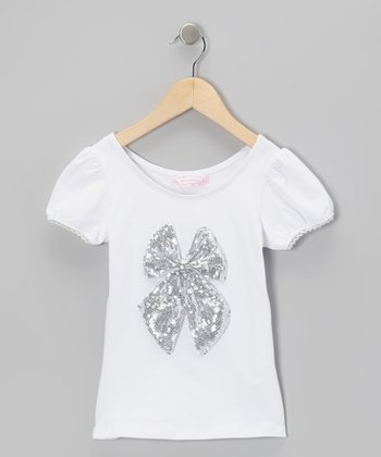White & Silver Sequin Bow Top - Toddler & Girls