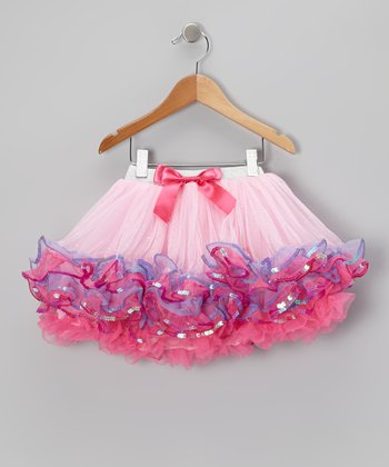 Pink & Purple Glitter Bow Pettiskirt - Infant, Toddler & Girls