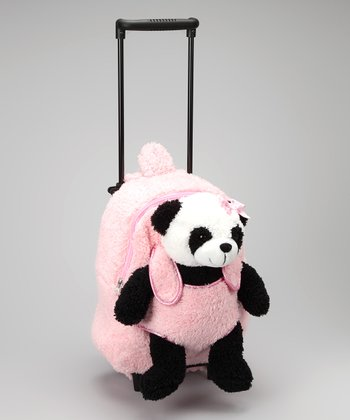 Pink Panda Rolling Plush Toy Backpack