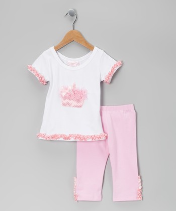 White Cupcake Tee & Pink Leggings - Infant, Toddler & Girls