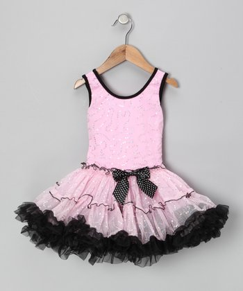 Pink & Black Sequin Ruffle Dress - Toddler & Girls
