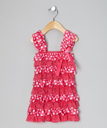 Fuchsia & White Polka Dot Ruffle Dress - Infant, Toddler & Girls