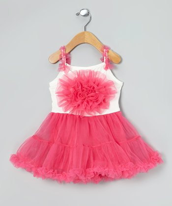 Fuchsia & White Flower Tutu Dress - Infant, Toddler & Girls