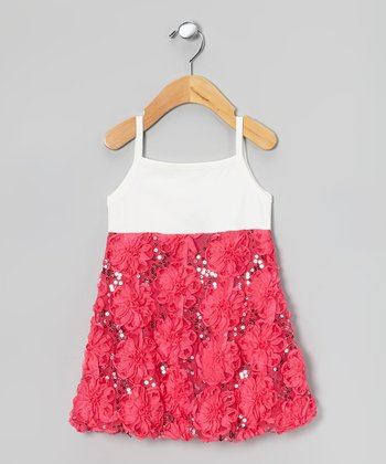 Fuchsia & White Rosette Dress - Infant, Toddler & Girls