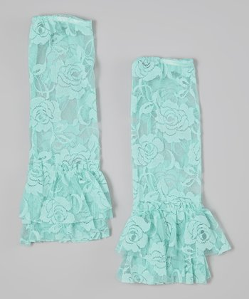 Light Blue Lace Ruffle Leg Warmers