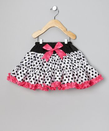 White & Fuchsia Polka Dot Tutu - Infant, Toddler & Girls
