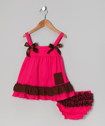 Fuchsia Ruffle Dress & Diaper Cover - Infant & Toddler