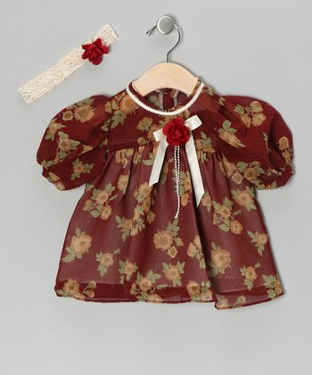 Burgundy Chiffon Flower Dress & Headband - Infant, Toddler & Girls