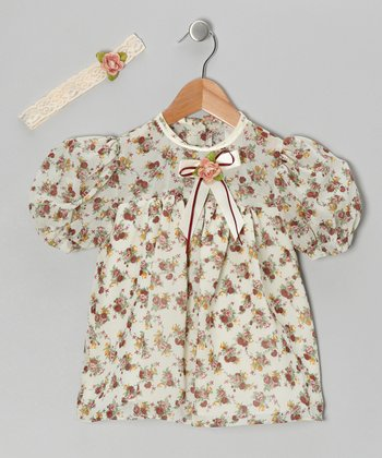 Sand Chiffon Flower Dress & Headband - Infant & Toddler