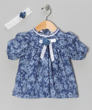 Blue Chiffon Flower Dress & Headband - Infant & Toddler