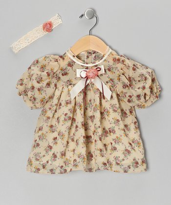 Tan Chiffon Flower Dress & Headband - Infant, Toddler & Girls