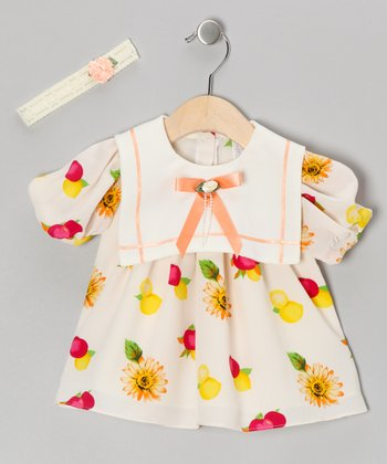 White Chiffon Fruit Dress & Headband - Infant, Toddler & Girls