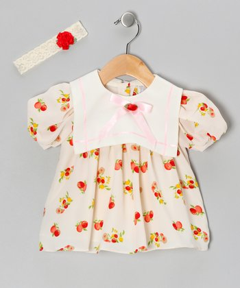 Beige Chiffon Fruit Dress & Headband - Infant, Toddler & Girls